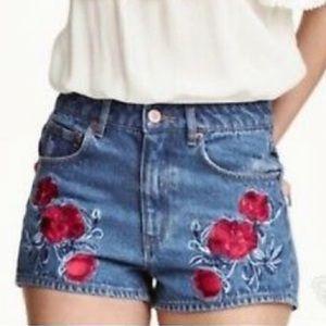 H&M Coachella Embroidered Jean Shorts